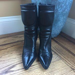 Miu Miu • Black Soft Leather Boots Hidden Zipper